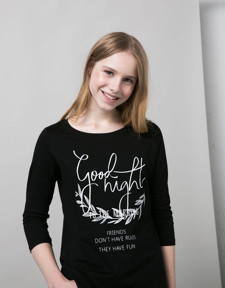 Je l'ai ✅ T-shirt BSK imprimé texte - T- Shirts - Bershka France