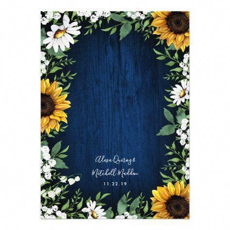 Navy Blue Sunflower Rustic Wedding Invitations #weddingdecor