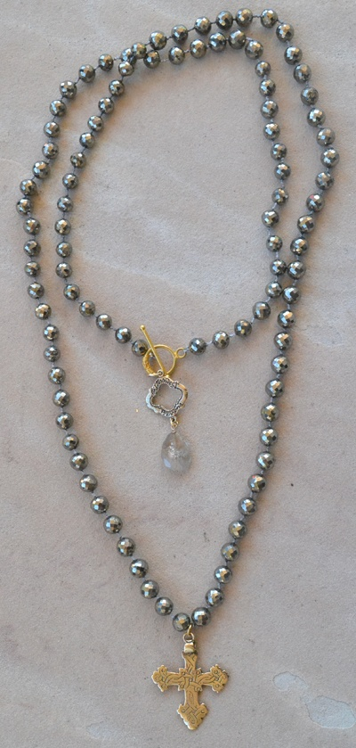 Knotted Pyrite Necklace by Bittersweet Designs