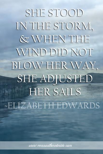 Mrs. Southern Bride: She Adjusted Her Sails
