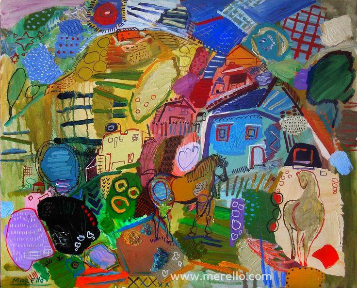 """P A R A D I S E José Manuel Merello.- """"La casa del jnete"""" // """"The house rider """" (81x100 cm) (2008-2010) Técnica mixta sobre lienzo. Arte moderno. Pintores actuales contemporáneos. Color y técnica en el arte actual. http://www.merello.com"""