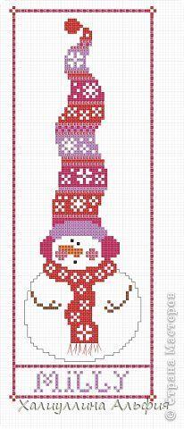 """Картина, панно, рисунок, Мастер-класс Вышивка крестом: МК Вышивка крестиком """"Снеговики"""" Канва, Нитки Новый год. Фото 2"""