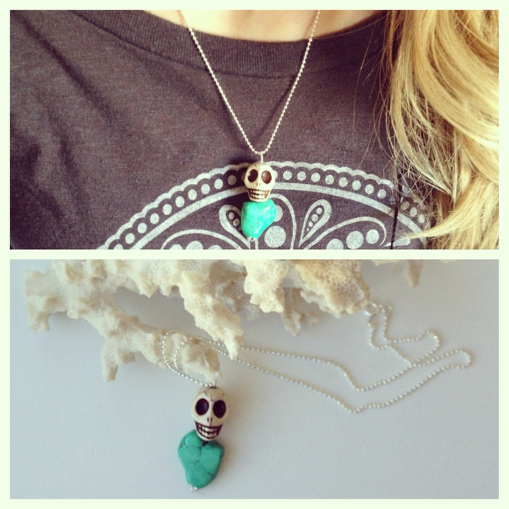 Skull Rock Necklace . $15.00, via Etsy. #stone #rock #skull #silver #necklace #jewelry #handmade #etsy #reefbeads #turquoise #white #beachstyle #beachwear #beach #style #summerstyle #summer #surfergirl #ocean #hipster #trendy