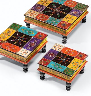 Set of 3 hand painted indian wooden bajot tables