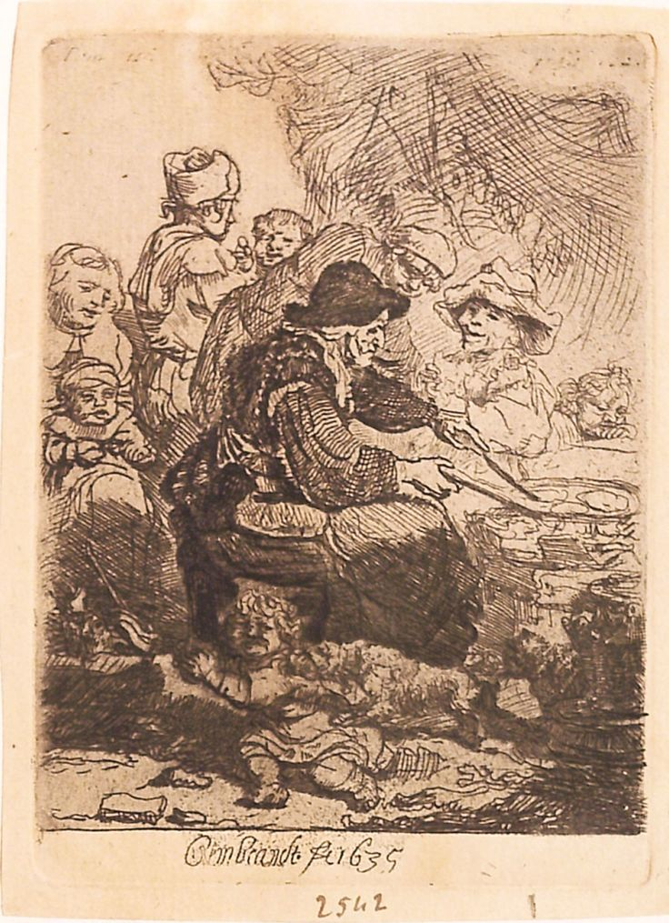 """Vânzătoarea de clătite, 1635, semnată și datată mijloc jos: Rembrandt f.t 1635. Imagine din colecțiile Bibliotecii """"V.A. Urechia"""" Galați."""