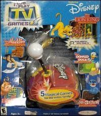 Plug 'N Play Disney Joystick with 5-in-1 TV Games by Jakks. $28.99. The Plug 'N Play Disney Joystick has five fun-filled games featuring your favorite Disney characters. There is something for everyone. Go on an adventure, test your puzzle reflexes or take in a little sport. It's five magical games for the entire family.Features:Donald Duck -Donald's Golf TournamentThe Lion King - Simba & The Tree of TrialsLilo & Stitch - Stitch's Search for Paradise Aladdin - Aladdin and the Fi...