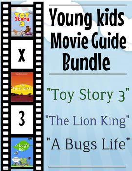 Come get this discounted offer of 3 sets of young kids movie guides. Best suited for grades 1-3. The pack includes the following movie comprehension questions + extras: ------------------------------------------------------------ 1.
