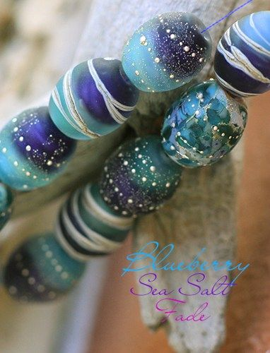 Blueberry Sea Salt Fade Barrels (10) handmade glass lampwork beads   beadsandbotanicals - Jewelry on ArtFire