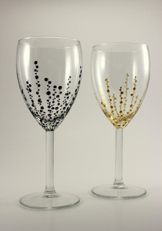 hand painted wine glasses silver u0026 gold modern by swankystems