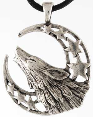 Howling Moon Celestial Using a howling wolf against a crescent, star-filled moon, this amulet is intended to aid you in calling upon the energies of the Moon and the Goddess.