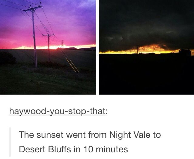Sunsets in Night Vale vs. Those in Desert Bluffs