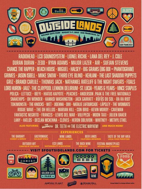 The Outside Lands 2016 Lineup Is Here! | 7x7