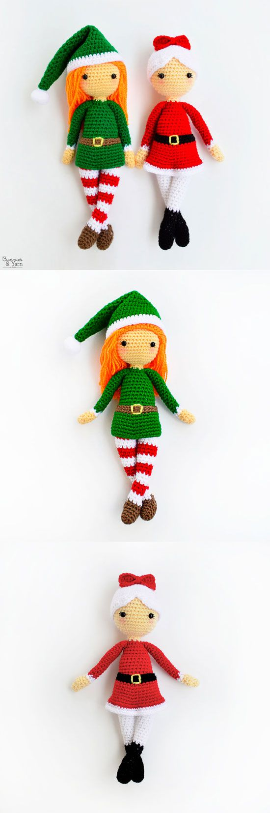 Crochet Patterns - Edna the Elf Doll and Mrs. Claus - Amigurumi