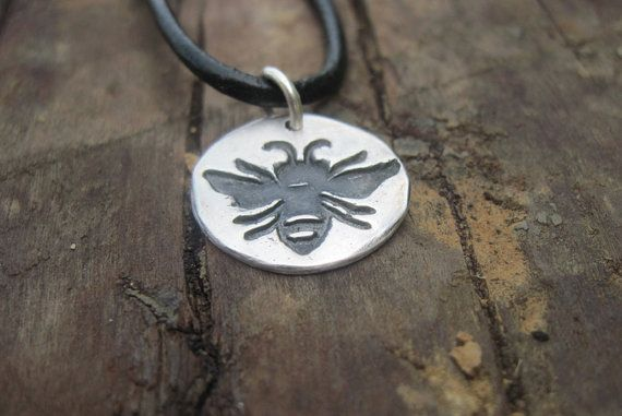 Bee Necklace,  Bumblebee Necklace, Honeybee Necklace,  Sterling Silver Bee on Leather Cord,  Handmade Bee Charm