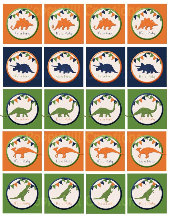 """INSTANT DOWNLOAD - DIY Printable """"It's A Party"""" Dinosaur Tags - Green, Orange, Blue - For Personal or Commercial Use - Personalized on Etsy, $3.00"""