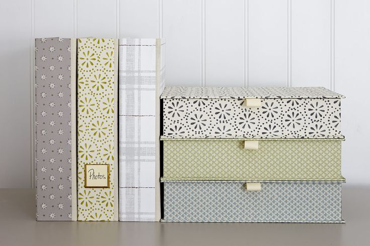 Wallpaper covered box and lever arch files