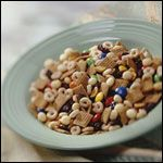 Chex & Cheerios Trail Mix Recipe. I use GF Nature's Path Cheerios type cereal and GF  Corn Chex instead of Kix