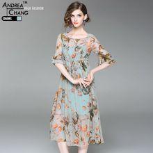 Hoge kwaliteit lente zomer vrouw jurk groen blad oranje bloem patroon zijde jurk kalf lengte hemelsblauw strip zijde jurk(China)