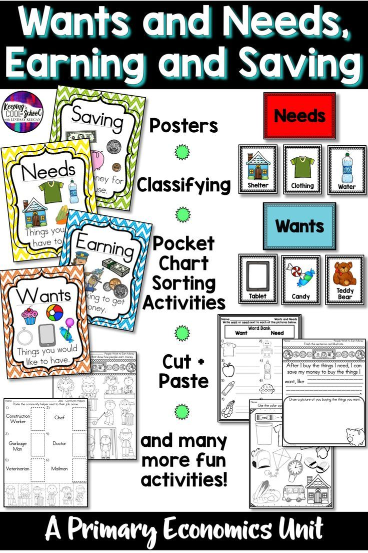 Your Students Will Love These Wants And Needs Earning And Saving Activities Included Are Wo Kindergarten Social Studies Money Kindergarten Money Anchor Chart [ 1104 x 736 Pixel ]