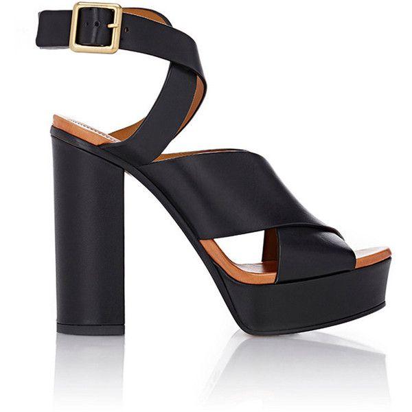 Chloé Women's Crisscross-Strap Platform Sandals (2 655 SEK) ❤ liked on Polyvore featuring shoes, sandals, black, strappy high heel sandals, strappy sandals, black strappy sandals, strappy platform sandals and black platform sandals