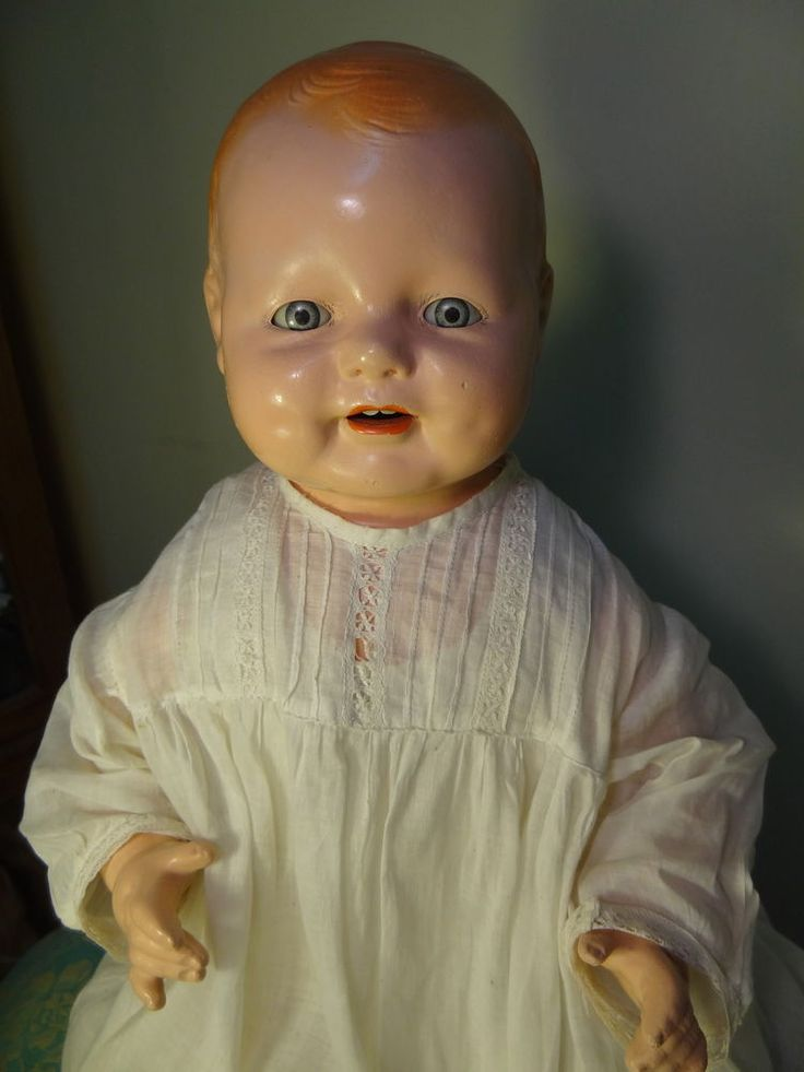Baby Doll With Toys Huge 19 Antique Toddler Chuckles Century Baby Doll