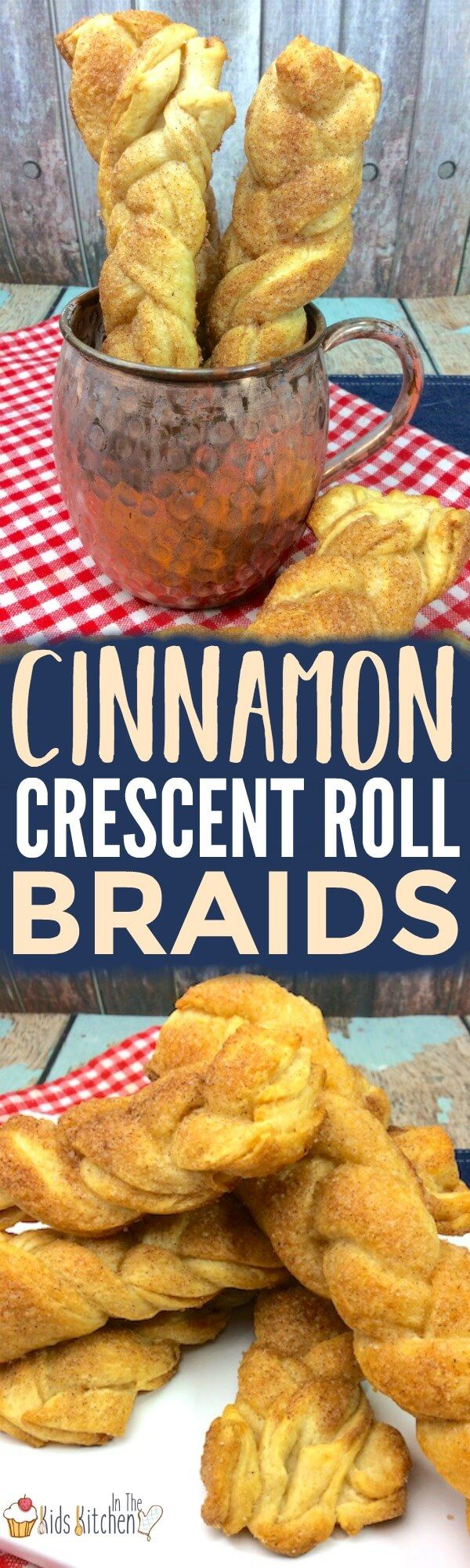 A fun twist on breakfast — the whole family will love these easy Cinnamon Crescent Roll Braids! Perfect for holidays or parties!