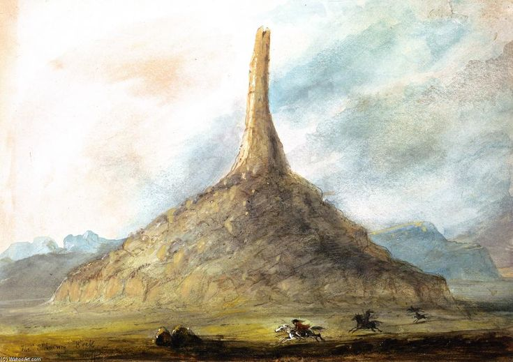 Chimney Rock near Scott's Bluff, Watercolour by Alfred Jacob Miller (1810-1874, United States) kp