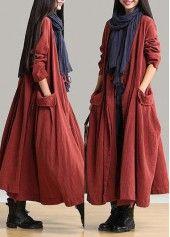 Long Sleeve Brick Red Pocket Maxi Dress | lulugal.com - USD $35.84