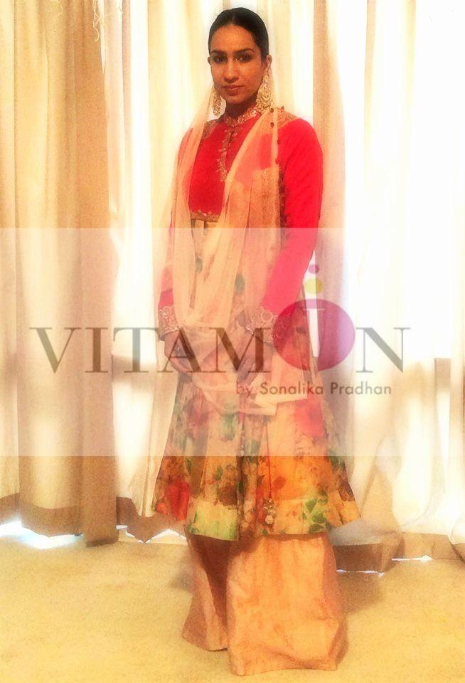 Vitamin by Sonalika# Sonalika#pradhan# festive# Season# Anarkali#Aangrakha# Bajirao mastani# Look# Traditional# Bollywood#fashion#brand# Melbourne#Australia# Mumbai#India# Peach# Printed#Silk#Embroidery#Red#