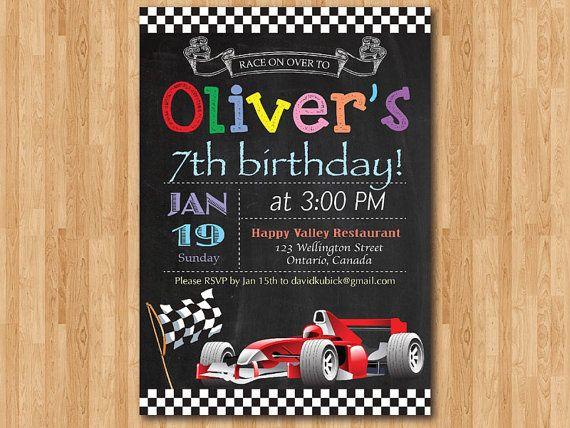 Rennen Auto Geburtstag Einladung. Junge Car Racing Geburtstags Party  Einladen. Tafel Bday Lädt. Ferrari Formel Druckbare Digitale Basteln.