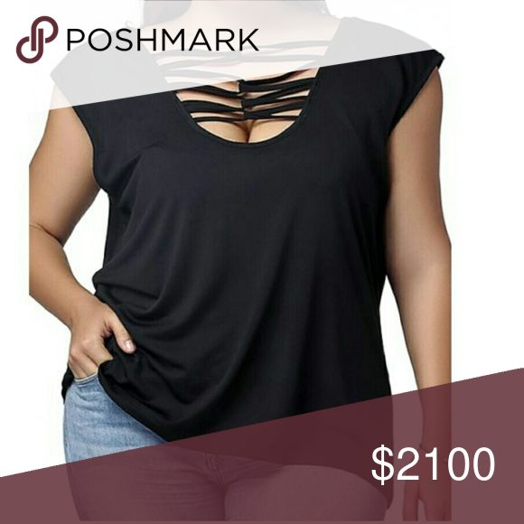 COMING SOON!! Black Criss Cross Top Cute criss cross top in black. Cotton and Polyester. Please see measurements below for most accurate fit.   XL - Bust: 42.13, Waist: 38.98, Length: 25.20 inches  2XL - Bust: 44.09, Waist: 40.94, Length: 25.59 inches Tops Tees - Short Sleeve