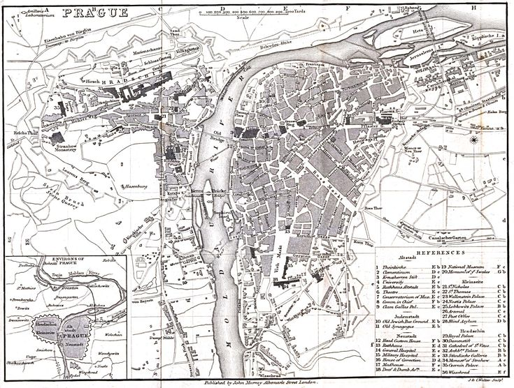 Mapa Prahy z roku 1858, vydaná Johnem Murrayem. http://www.lib.utexas.edu/maps/historical/prague_1858.jpg