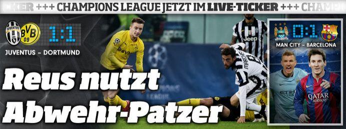 Live:@BVB:@juventusfc 1:1 http://sportdaten.bild.de/sportdaten/uebersicht/sp1/fussball/co19/champions-league/#sp1,co19,se15504,ro48735,md1,gm0,ma2322700,pe0,to0,te0,ho1094,aw258,rl0,na4,nb2,nc1,nd1,ne1,jt0, (similar with FC Barcelona http://sportdaten.bild.de/sportdaten/uebersicht/sp1/fussball/co19/champions-league/#sp1,co19,se15504,ro48735,md1,gm0,ma2322696,pe0,to0,te0,ho1267,aw597,rl0,na4,nb2,nc1,nd1,ne1,jt0,) astro #snake rocks:#Dost,#Reus,#Aubameyang,#Kroos,#Müller,#Bale etc