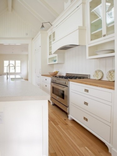 white contemporary with timber benchtop and matching ...