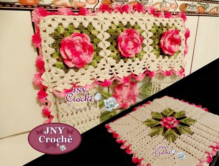 Capa De Fogão de crochê com flores
