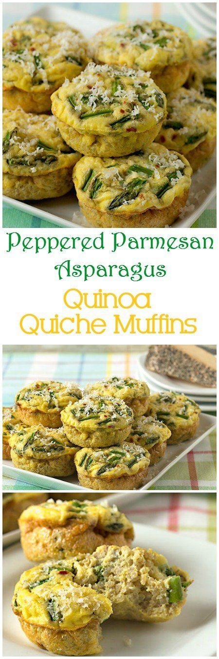 Quinoa quiche muffins with peppered Parmesan cheese and asparagus are fluffy, tender egg muffins. They're delicious for any holiday brunch, or breakfast or lunch on the go. | ItsYummi.com | brunch recipes | gluten free | Sartori cheese | Easter recipes vi