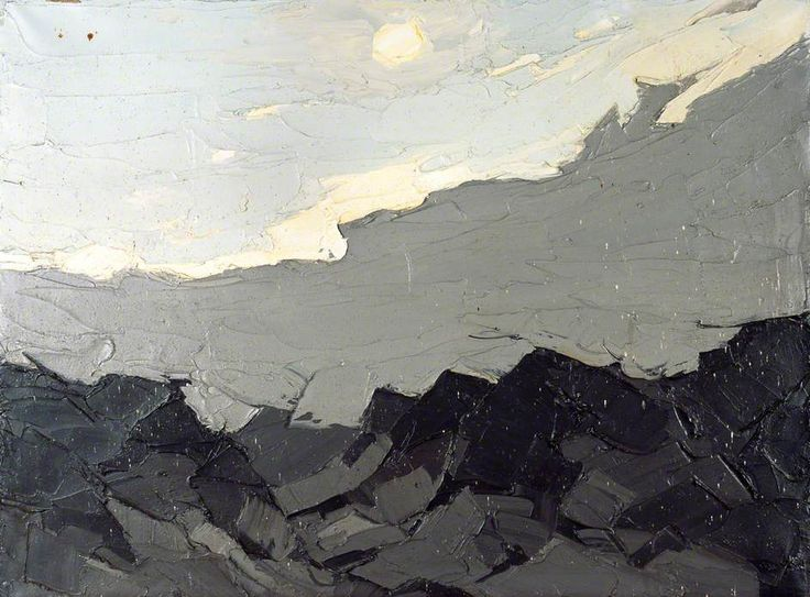 Grey Cloud and Sun over the Mountains — Kyffin Williams: Grey Cloud, Paintings Grey, Art Paintings, Abstract Art, Paintings Abstract, Kyffin Williams, Landscape Paintings, Famous Artists, Williams Paintings