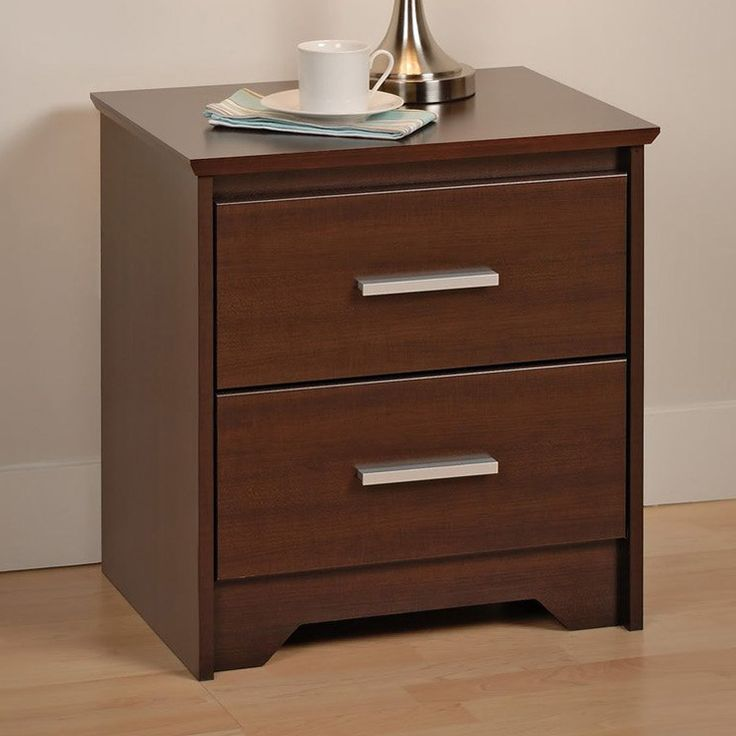 Espresso Nightstand With Two Drawer For Your Bedroom