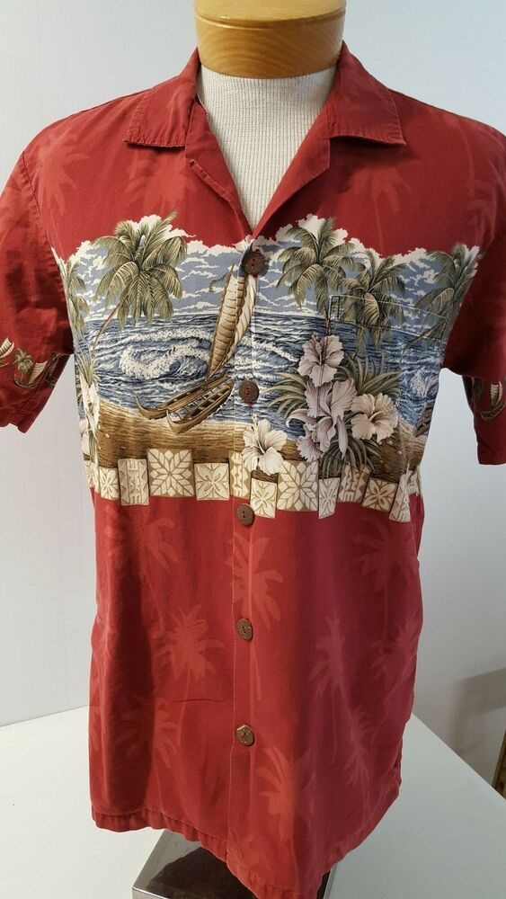 91423997 Favant Hawaiian Shirt Mens Sz M Red Nautical Tropical Short Sleeve Button  753 #Favant #Hawaiian