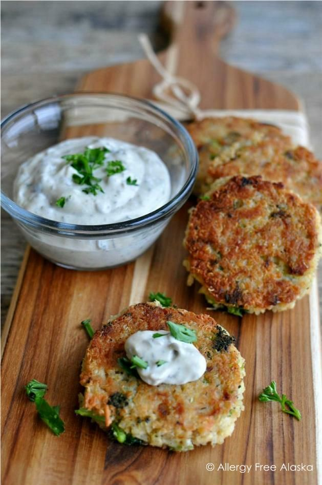 My kids go CRAZY for these - Tuna & Broccoli Quinoa Patties with Lemon Caper Sauce.
