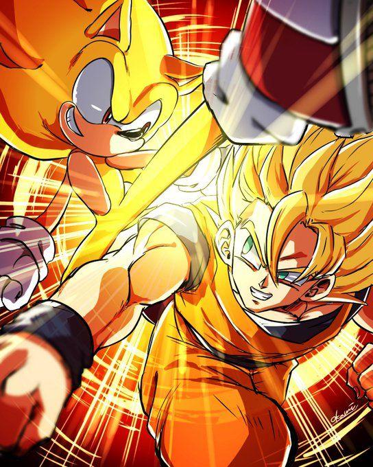 Super Sonic Vs Goku Crossovers Mash Ups Sonic Fan Art Dragon