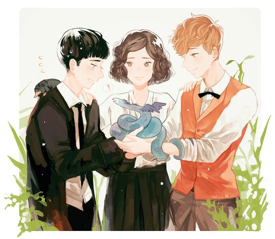Credence, Tina and Newt by tofuvi doodles