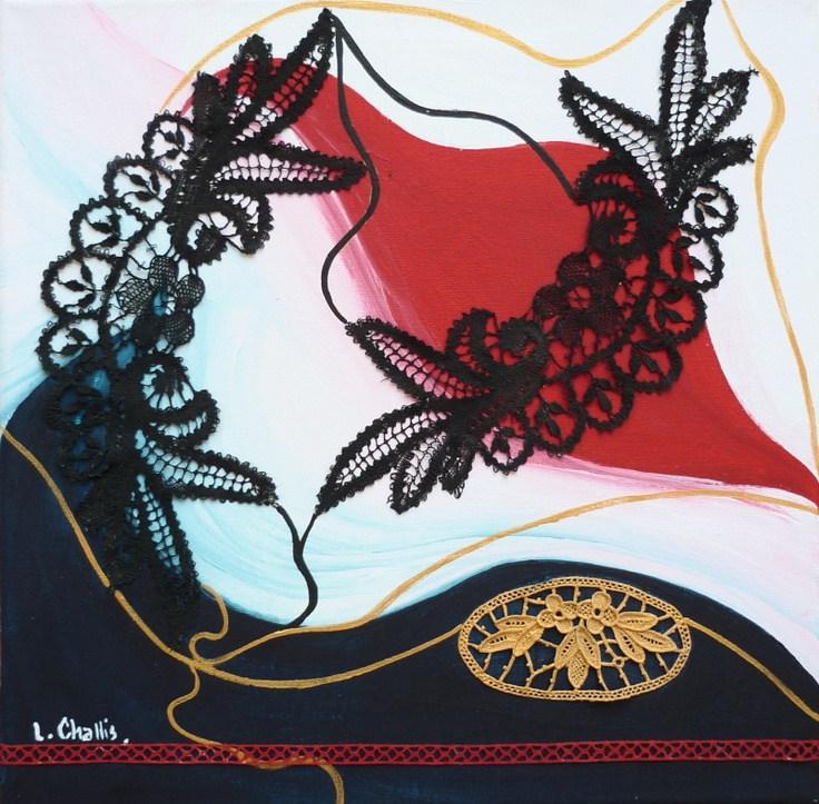 BLACK LACE 30 x 30 cm - collage - black lace and acrylic paint on canvas by Liz Challis. You can buy for AUD $650
