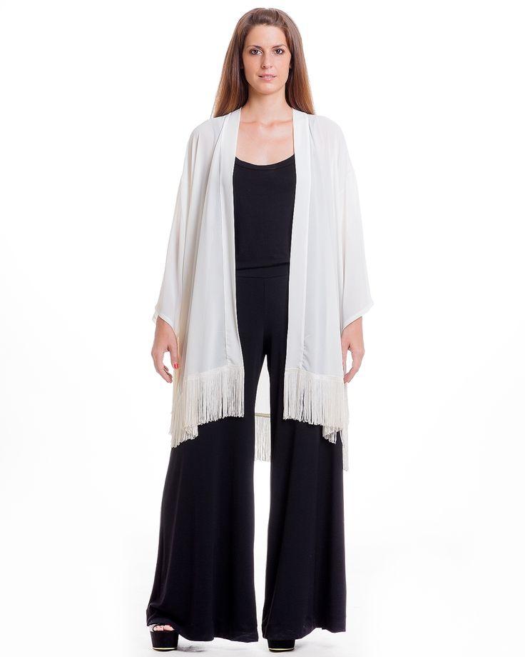 mat. F/W2014/15. Retro-chic kimono, Flared monochrome pants & Basic wide-neck top