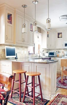 Cream & Red Traditional Kitchen with Peninsula - Traditional - Kitchen - Other Metro - Caves Kitchens