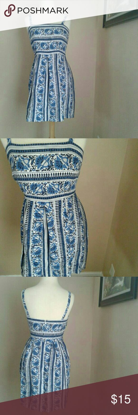 Blue Paisley Dress Women's Ann Taylor loft blue Paisley Dress. Zips up the back, such a cute dress and in good condition!   Sized as a 2p 2 petite LOFT Dresses