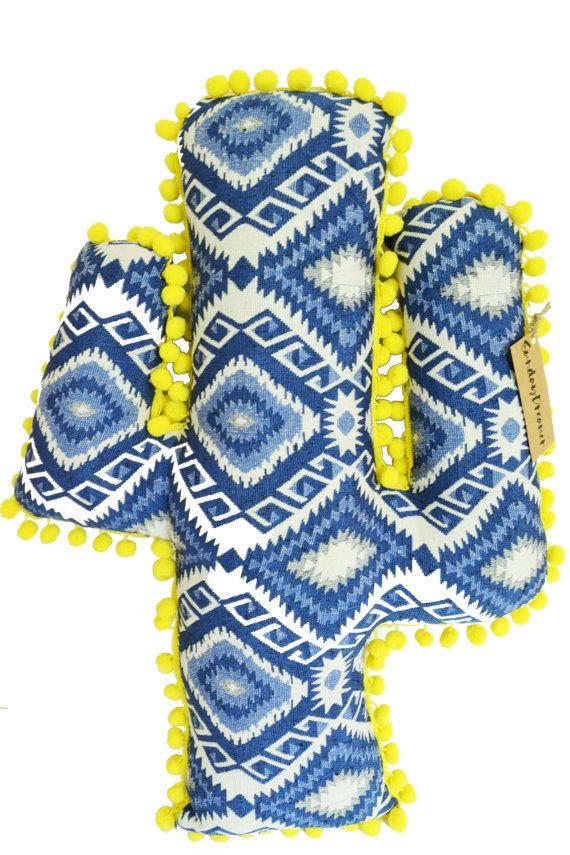 Cactus yellow pom pom cushion
