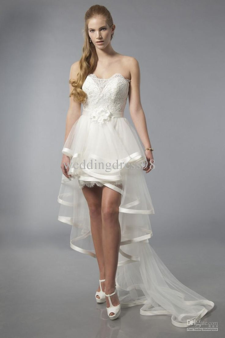 16 best short dress with train images on pinterest for Short wedding dress with removable train