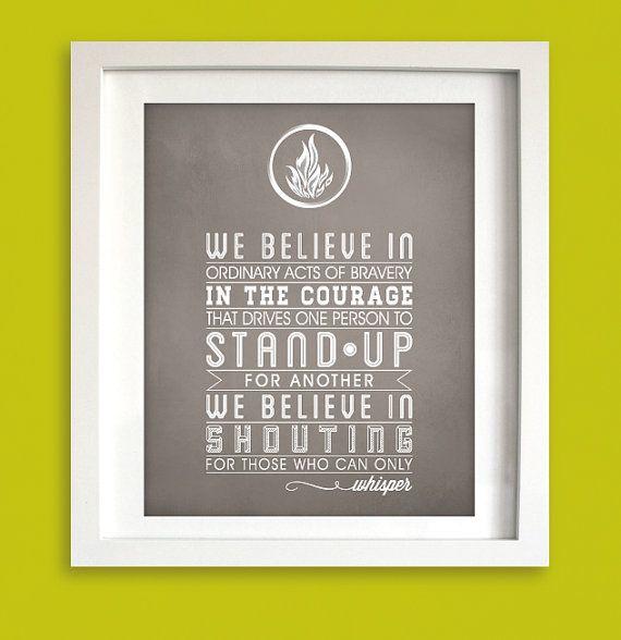 Instant Download - Divergent Dauntless Quotes - We Believe 8x10 - Typographic Art Print - Vintage Poster on Etsy, $7.50