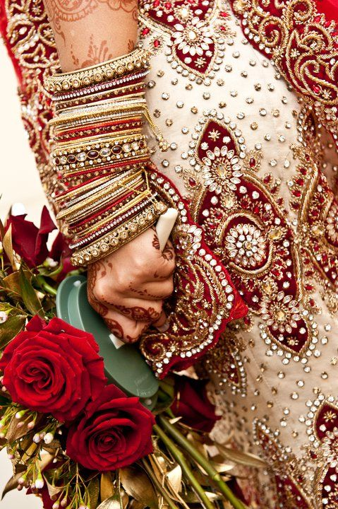 Beautiful Indian bride with roses.